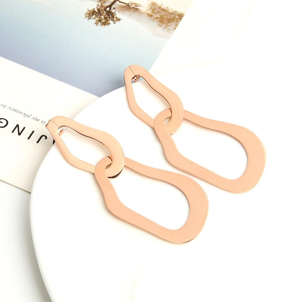 Exaggerated Hollow Irregular Dangle Earrings For Women Lady Personality Geometric 2 Circles Metal Earrings Party Jewelry