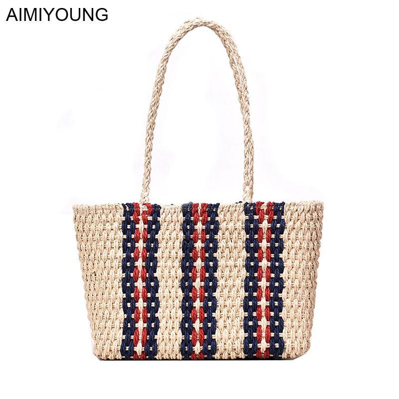 AIMIYOUNG Large Handbags Tote-Bags Fashion Women Ladies Feminina Straw Bolsa Mujer