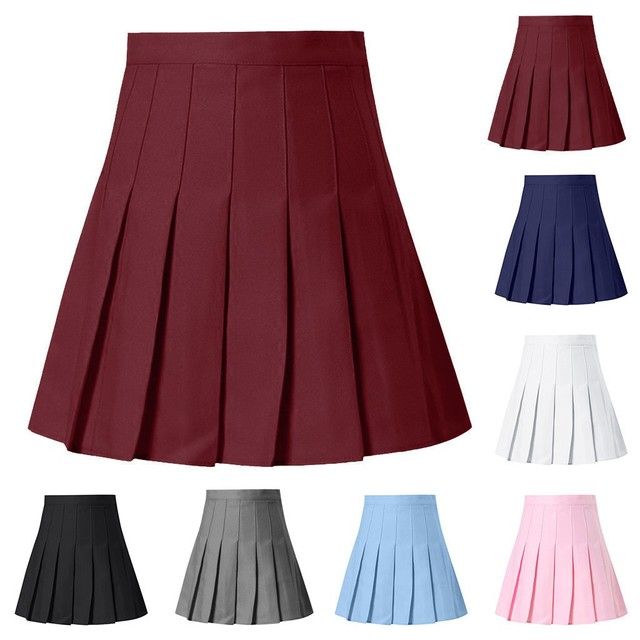 Women Skirts High Waist Pleated Mini Skirt Pink Pleated Satin Skirt Women's Fashion Slim Waist Casual Tennis Skirts School 4