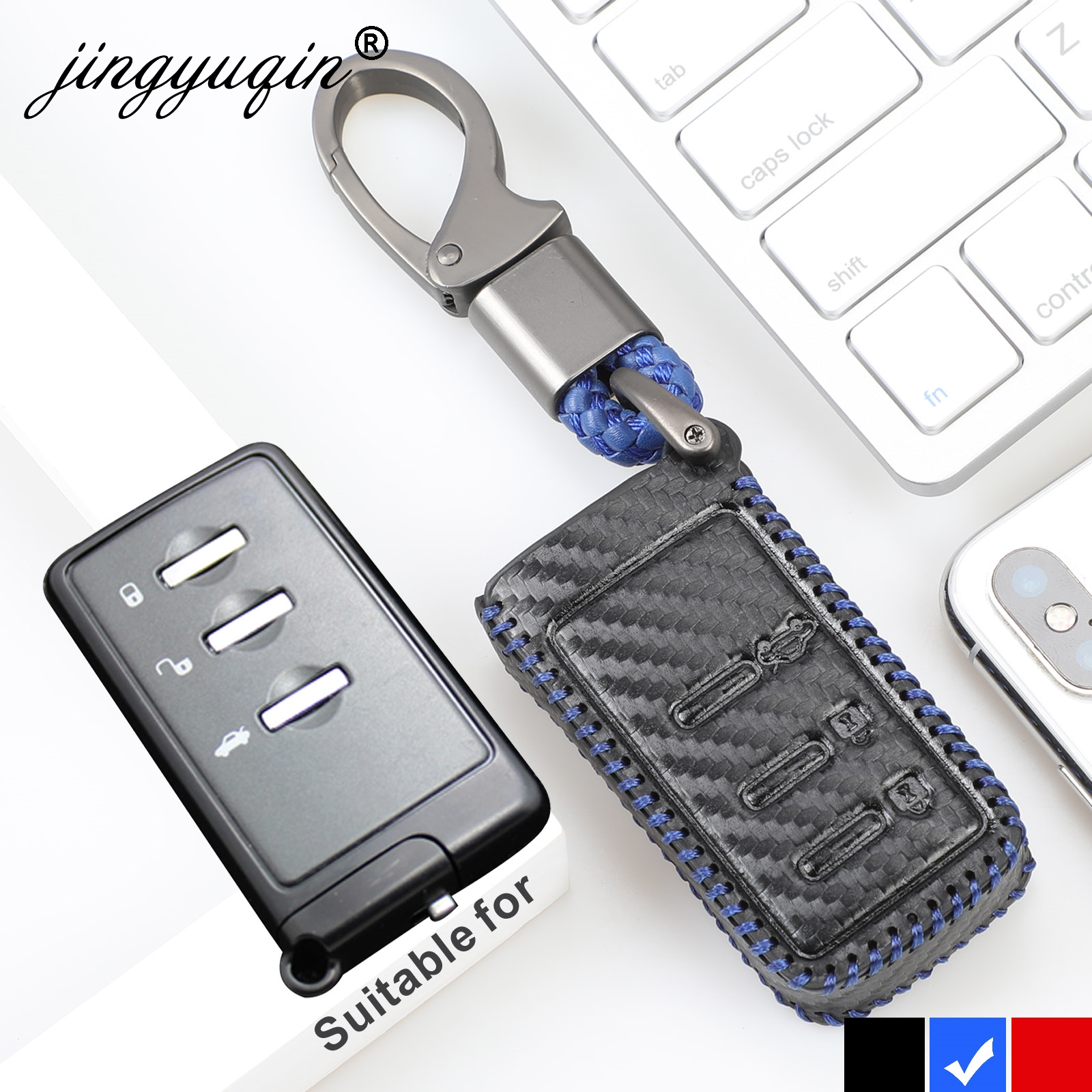 Jingyuqin Fiber Carbon Leather Key Cover Case For Subaru Forester Outback Legacy XV 3 Button Smart Fob Car Accessories