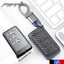 Jingyuqin fibra de carbono cubierta del cuero de clave caso para Subaru forester Outback Legacy XV 3 botón inteligente Fob accesorios de coche