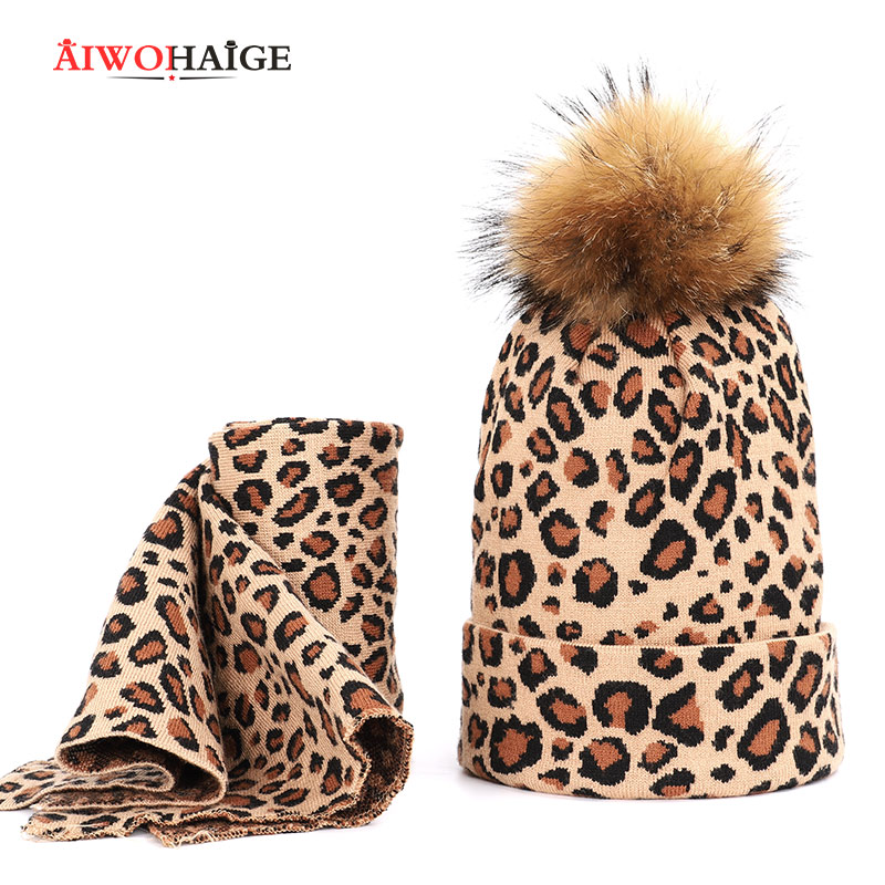 2019 Two-piece Set Scarf Raccoon Fur Man Woman Warm Double Layer Thickness Thicken Hedging Cap