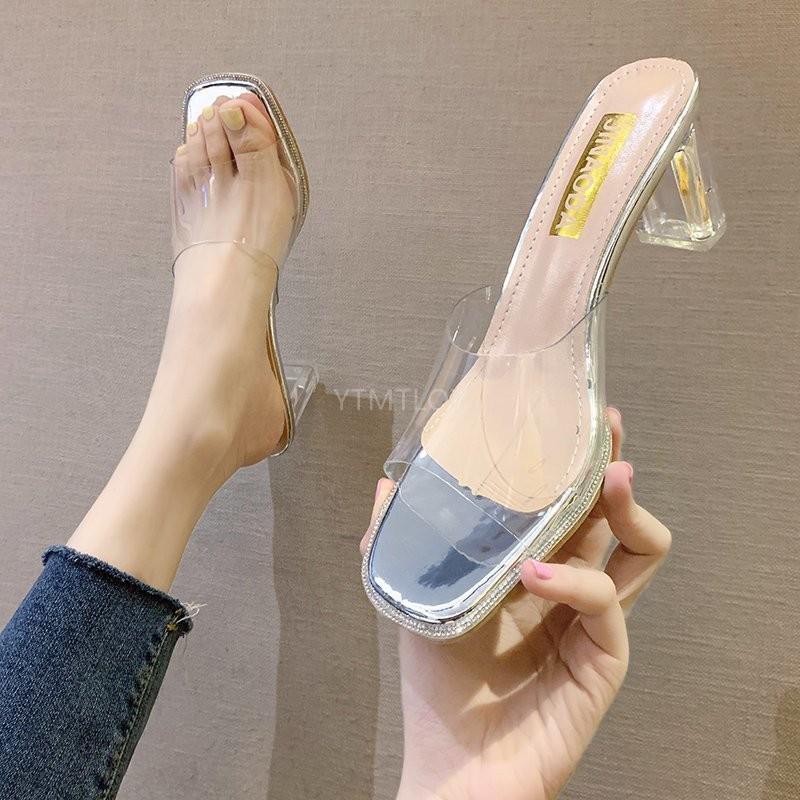 Clear Summer Sandals Women Shoes Mules Slides Peep Toe Transparent Square High Heels Female Casual Pvc Zapatillas De Casa Slippers  - AliExpress