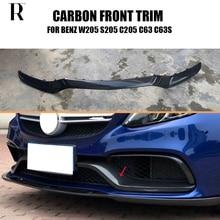 C63 Replaced Carbon Fiber Front Bumper Lip Spoiler for Benz W205 C205 S205 & C63s AMG Sedan Coupe Wagon 2015 - 2022
