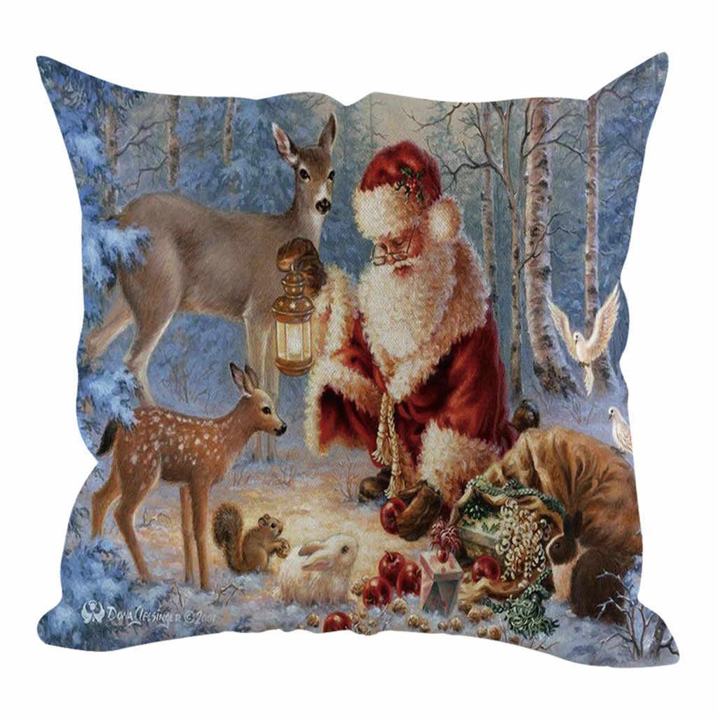 سعيد السنة الجديدة 2019 حفلة عيد الميلاد كيس وسادة ثلج عيد الميلاد وسادة غطاء 45x45 سنتيمتر ليلة السنة الجديدة لوازم الحفلات سانتا كلوز