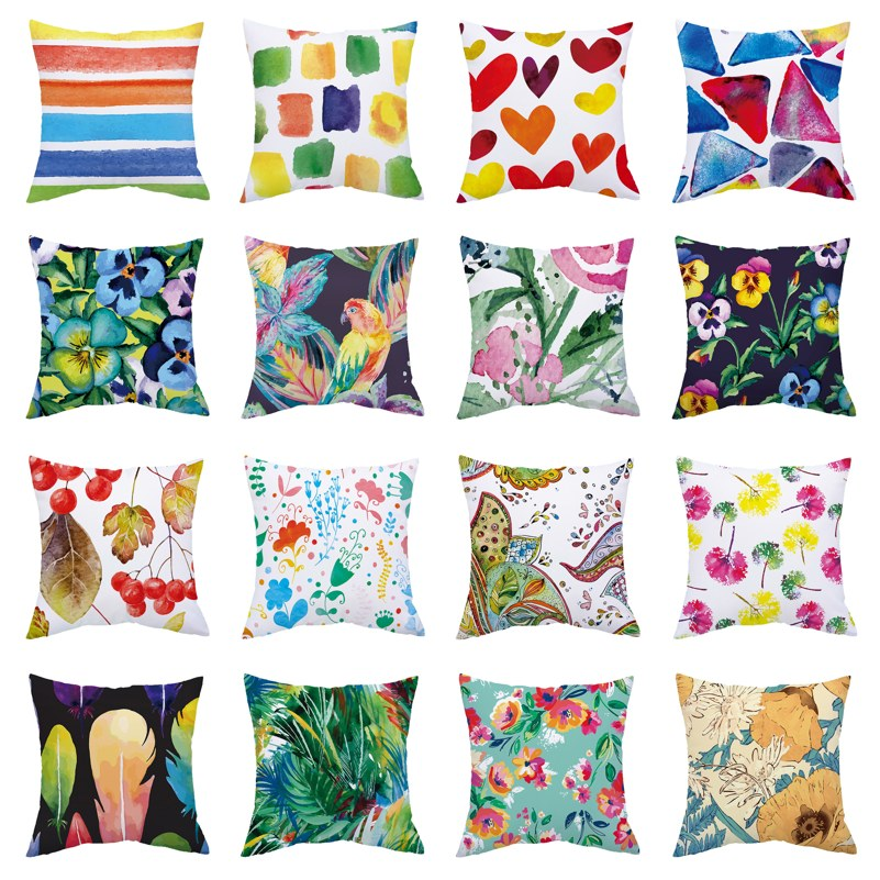 Flower Leaves Cushion Cover Sofa Decorative Pillows Polyester Pillow Case For Living Room Decoration Kussenhoes 45x45 Home Decor