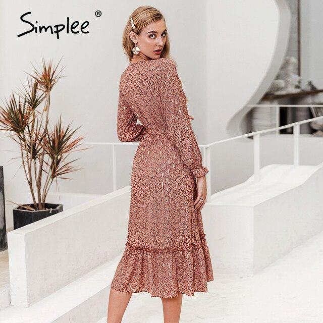 Simplee Sexy scollo a v delle donne ha stampato il vestito increspato Elegante a maniche lunghe a pieghe lavoro d'ufficio vestito estivo A-line delle signore maxi vestito da estate