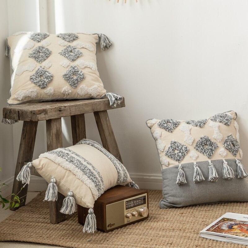 Handmade Moroccan Tuft Tassel Pillow Cover
