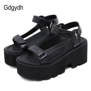 Женские сандалии на массивной платформе Gdgydh, черные, обувь в стиле панк на блочном каблуке для студентов, 2020