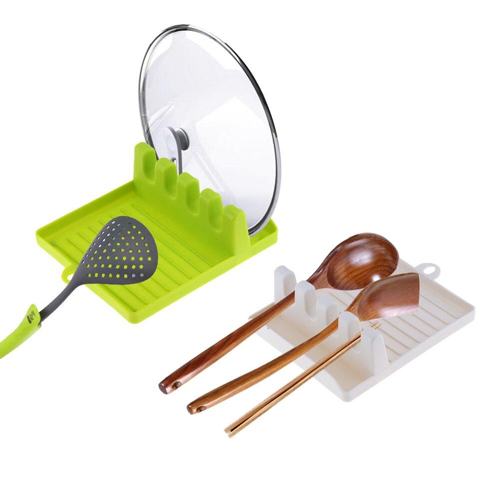 1PCS Multifunzionale antiscivolo pad in silicone di plastica mensola della cucina pad cucchiaio spatola scaffale stoviglie da cucina rack di stoccaggio cremagliera