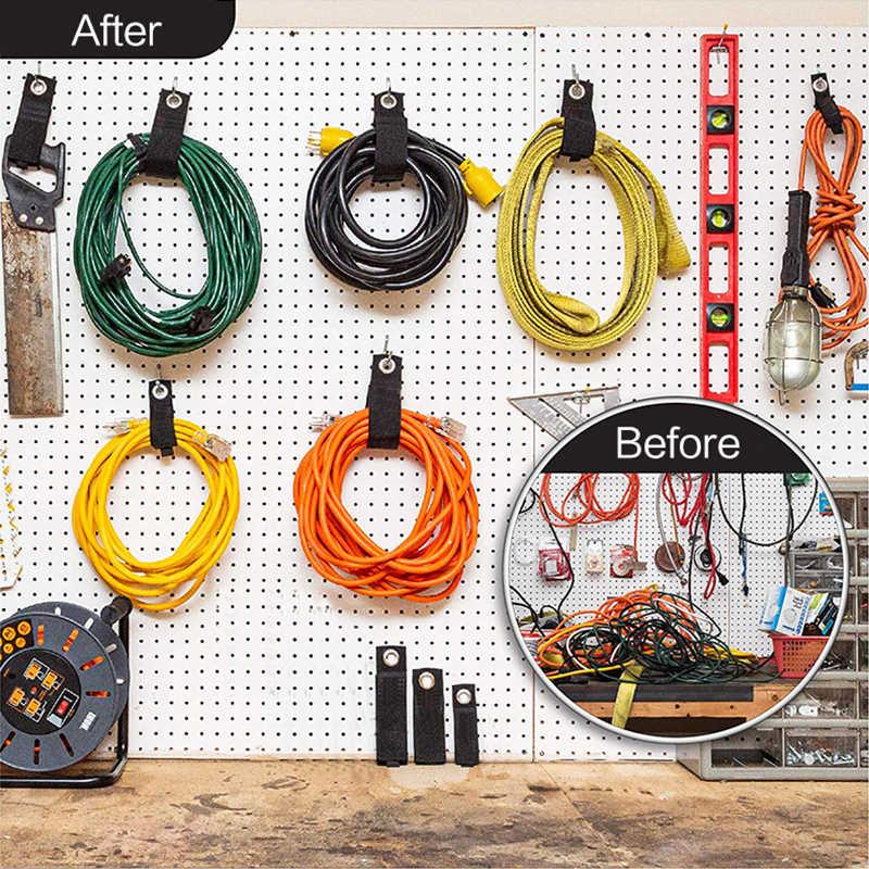 Tugas Berat Bungkus Penyimpanan Belt-Hook dan Loop Kabel Ekstensi Penyimpanan Rak Tali Pemegang Klip Kabel Tali untuk Penyimpanan dari Kabel Daya