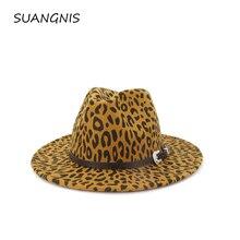 2019 new  Leopard Print Wool Felt Jazz Fedora Hats with Belt Buckle Men Women Wide Brim Trilby Panama Party Formal Top Hat