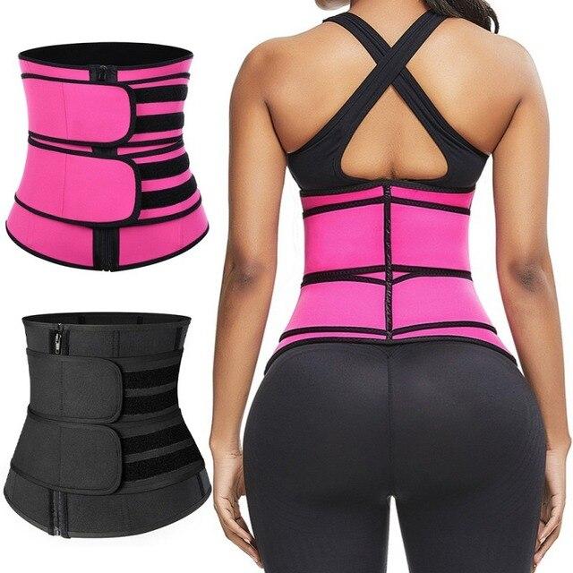 Women Weight Loss Lumbar ShaperSteel Boned Waist Corset Trainer Sauna Sweat Sport Girdle CintasTrimmer Belt 2