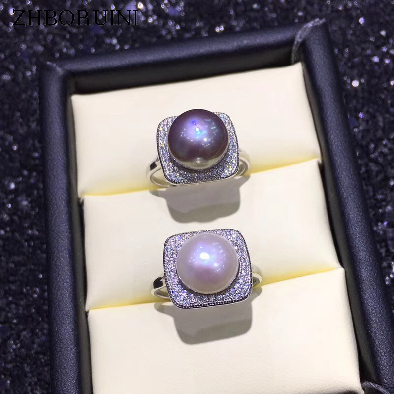 ZHBORUINI New Statement Pearl Ring Jewelry 925 Sterling Silver For Women Natural Freshwater Pearl Zircon Square Rings Wholesale