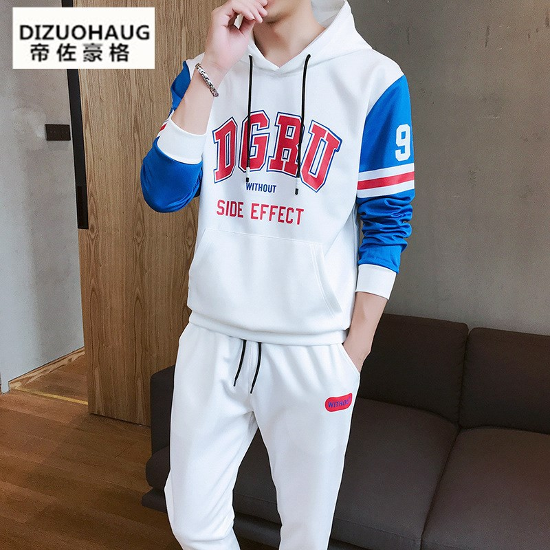 2019 Spring Students Sports Set Men's Korean-style Long Sleeve Casual Beam Leg Trousers Two-Piece Set Fashion Leisure Suit