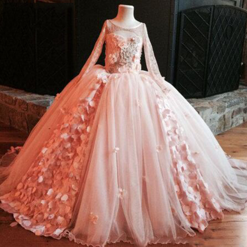 Pink Appliques Lace Ruched Ruffles Ball Gown Flower Girl Dresses Simple Long Sleeve O-neck Floor Length Communion Gown Sukienkic