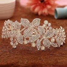 Posrebrzane kwiatowe kwiaty akcesoria do włosów dla panny młodej ręcznie robione kryształowe ślubne gwiaździste ślubne grzebień do włosów Rhinestone tiary Crown