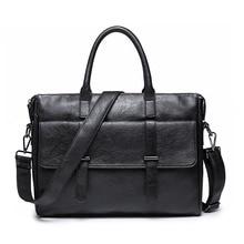 Mens Faux Leather Business Casual Briefcase Men Fashion Office Work Black Shoulder Crossbody Messenger Bags Pu Laptop Handbags