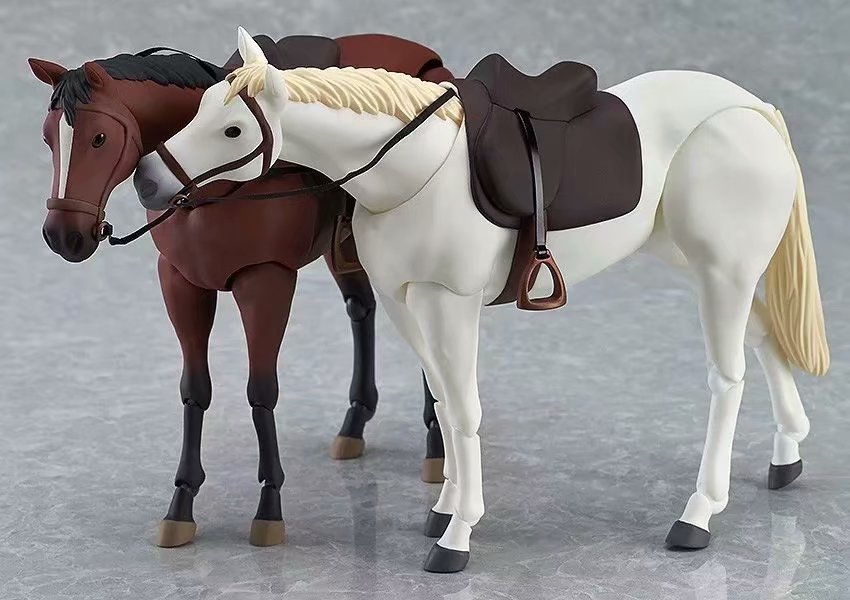 Anime White and brown horse Action Figure Collectible Model Doll Toy