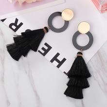 Fashion Three-layer Tassel Earrings Simple And Elegant Temperament Long High-end