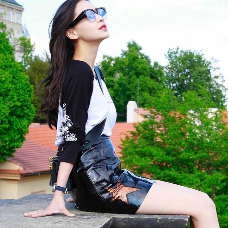 Luxe 100% Lederen Rok Womens 2020 Herfst Mini A-lijn Schapenvacht Rokken Lady Skinny Elegante Zwarte Heldere Hoge Taille Rok Ster