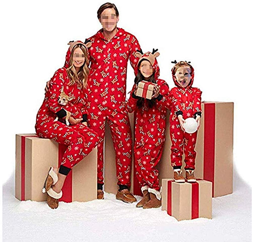 Xmas Kids Adult Family Matching Christmas Pajamas Pjs Set Sleepwear Hooded Reindeer Print Jumpsuit Nightwear Pajamas Gifts