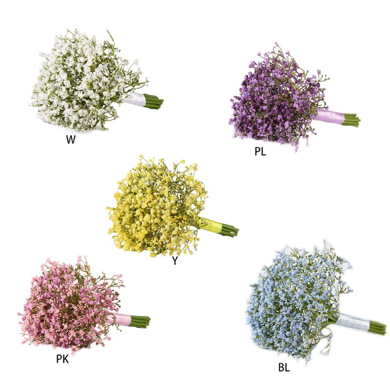 Artificial Baby Breath Gypsophila Wedding Bridal Bridesmaid Bouquet Holding Flowers With Satin Ribbon For Home Party Decoration