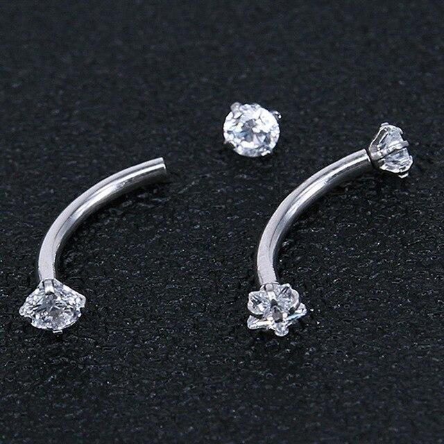 2 Piece Titanium Anodized Internally Threaded Prong Top Gem Eyebrow Ring piercing Zircon Eye Nail ring Tragus Earring 2