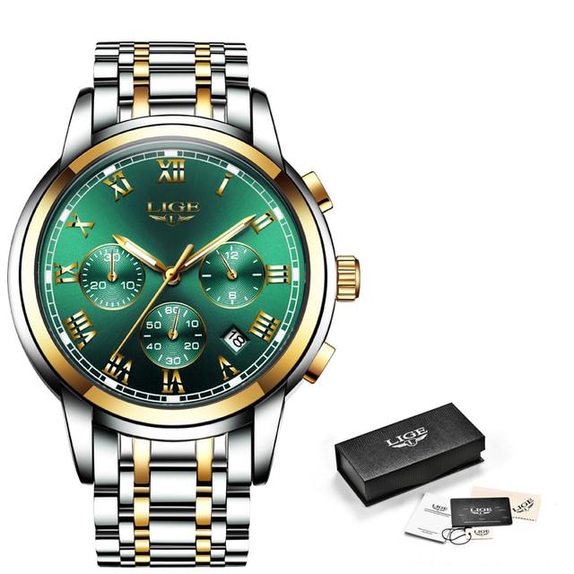 LIGE Top Brand Luxury Green Fashion Chronograph Male Sport Waterproof Clock 10