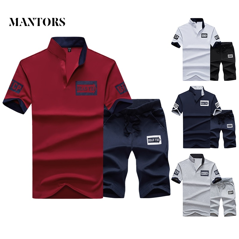 Men Slim Fit Set 2019 Summer Casual Solid Tracksuits Male Stand Collar Short Sets 2PC T-shirts+Shorts Men's Sportswear Sportsuit
