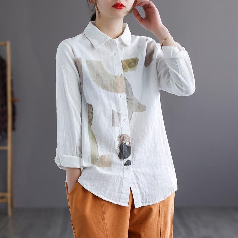 Women Print Shirt Loose Big for Spring Summer Cotton Linen Elegant Casual New Female Long Sleeve B04191021