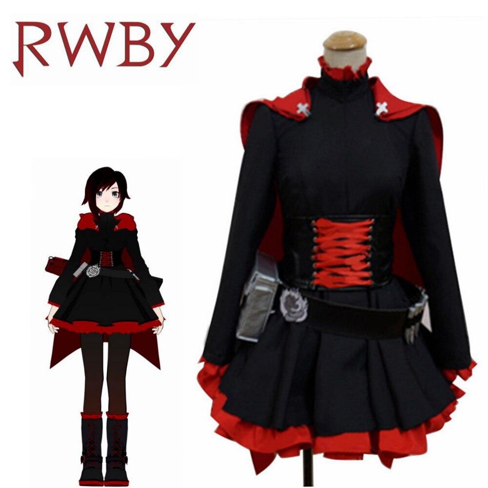 Ruby Rose RWBY Cosplay 3 Season Red Dress Cloak Battle Uniform Costume Anime RWBY Ruby Rose Cosplay Costume Women