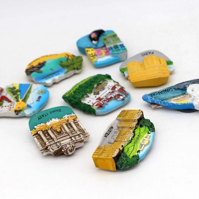 Thailand tourist magnet refrigerator 3d magnets Italy fridge magnets Paris Austria Singapore France nice Romania home decor gift 6