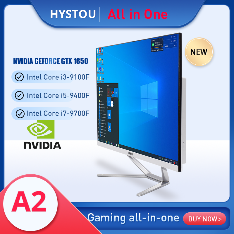Poweiful All In One PC 23.8 inch Windows 10 Computer Intel Core I7 9700F with GTX1650 4G With Keyboard Mouse Home AiO desktop PC