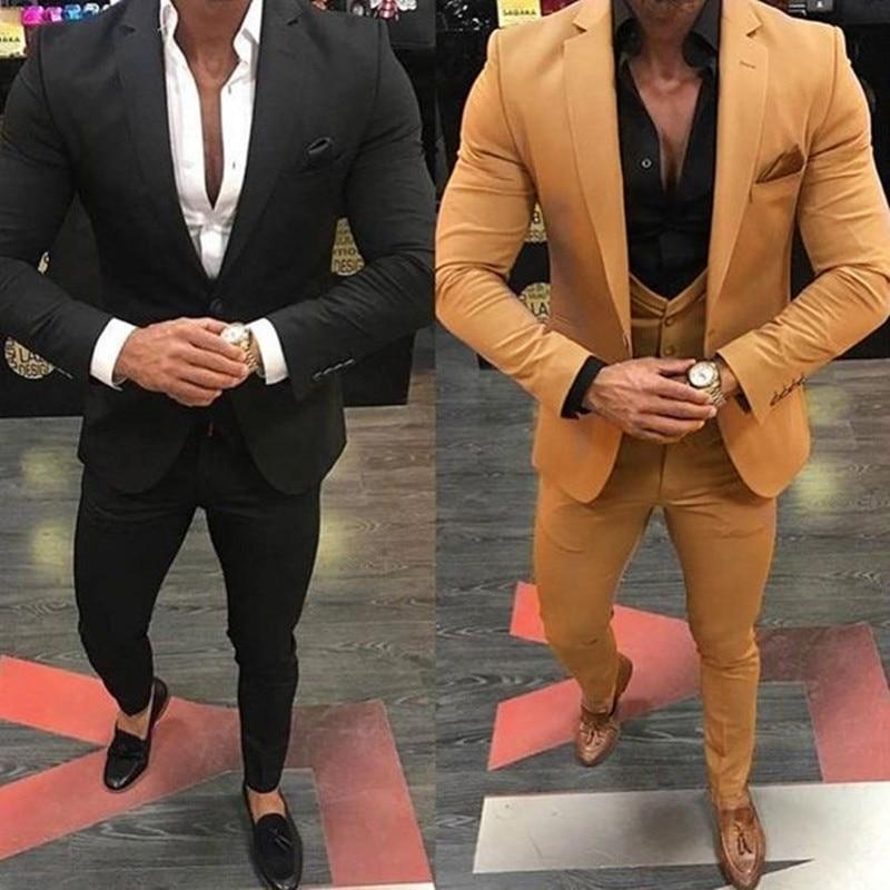 Khaki/Black Men Suits For Wedding 3 Pieces Business Suit Blazer Peak Lapel Costume Homme Terno Party Suits(jacket+pant+vest)