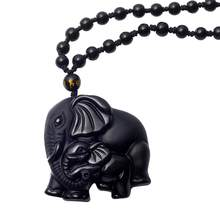 Natural Stone Black Obsidian Hand Carved Cute Elephant Lucky Pendant Beads Necklace Charms Reiki Bijoux Jewelry Chakra(China)