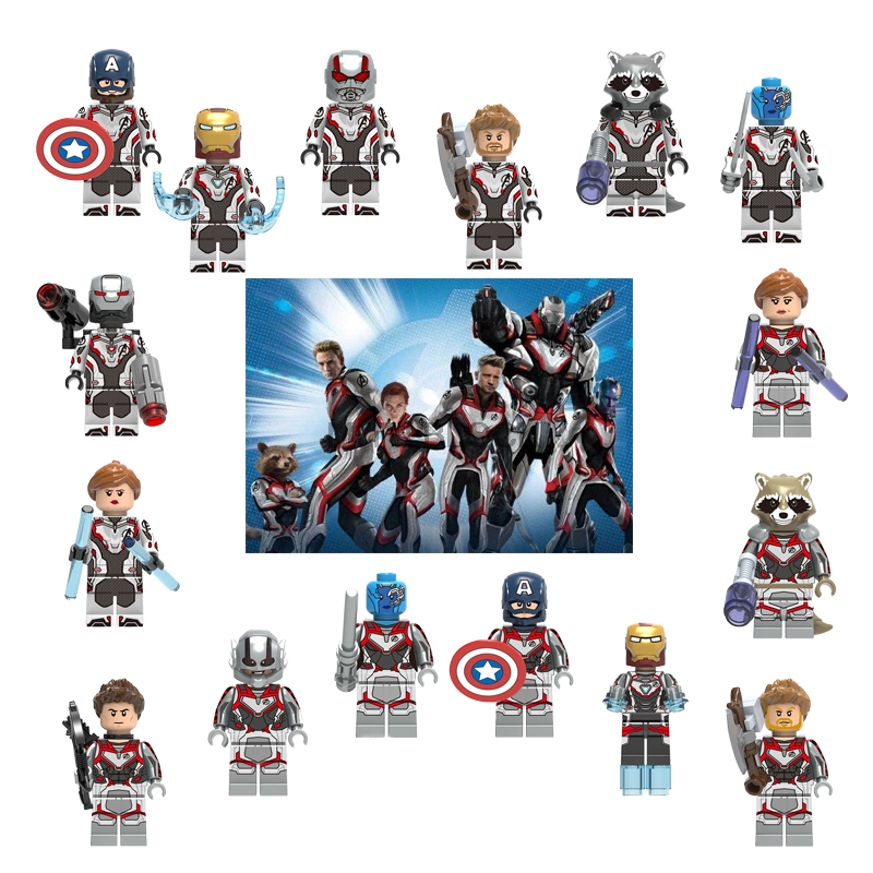 Single Sale Avengers 4 End Game Space Suit With Micro Figures Tony Stark Thor Hawkeye For Children Toys Building Blocks image