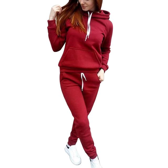 Ranberone 2-Piece Sportswear FitnessSsolid Color Ladies Sportswear Hooded Pullover Sweatshirt casual pants suit sportswear 1