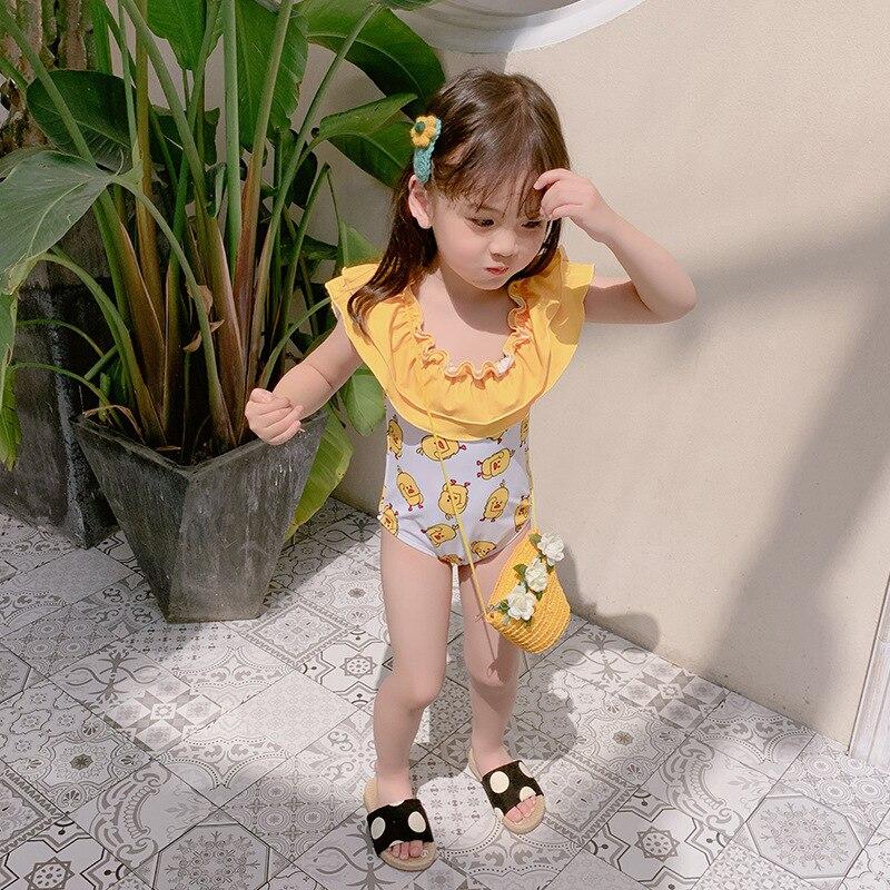 New Style KID'S Swimwear Girls Cute Cartoon Flamingo Little Duck Baby Girls Children One-piece Swimwear