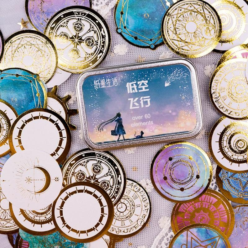 60 Pcs/Box Fantasy Starry Sky Planet Decoration Mini Paper Sticker Decoration DIY Album Diary Scrapbooking Label Sticker Kawaii