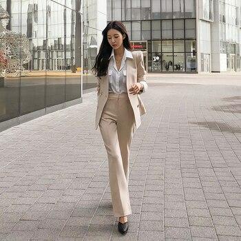 Spring And Autumn Women's Office Suit V-Neck Green Two-Piece Sets Female Blazer Girly Elegant Temperament Pantsuit Setup Ladies 2