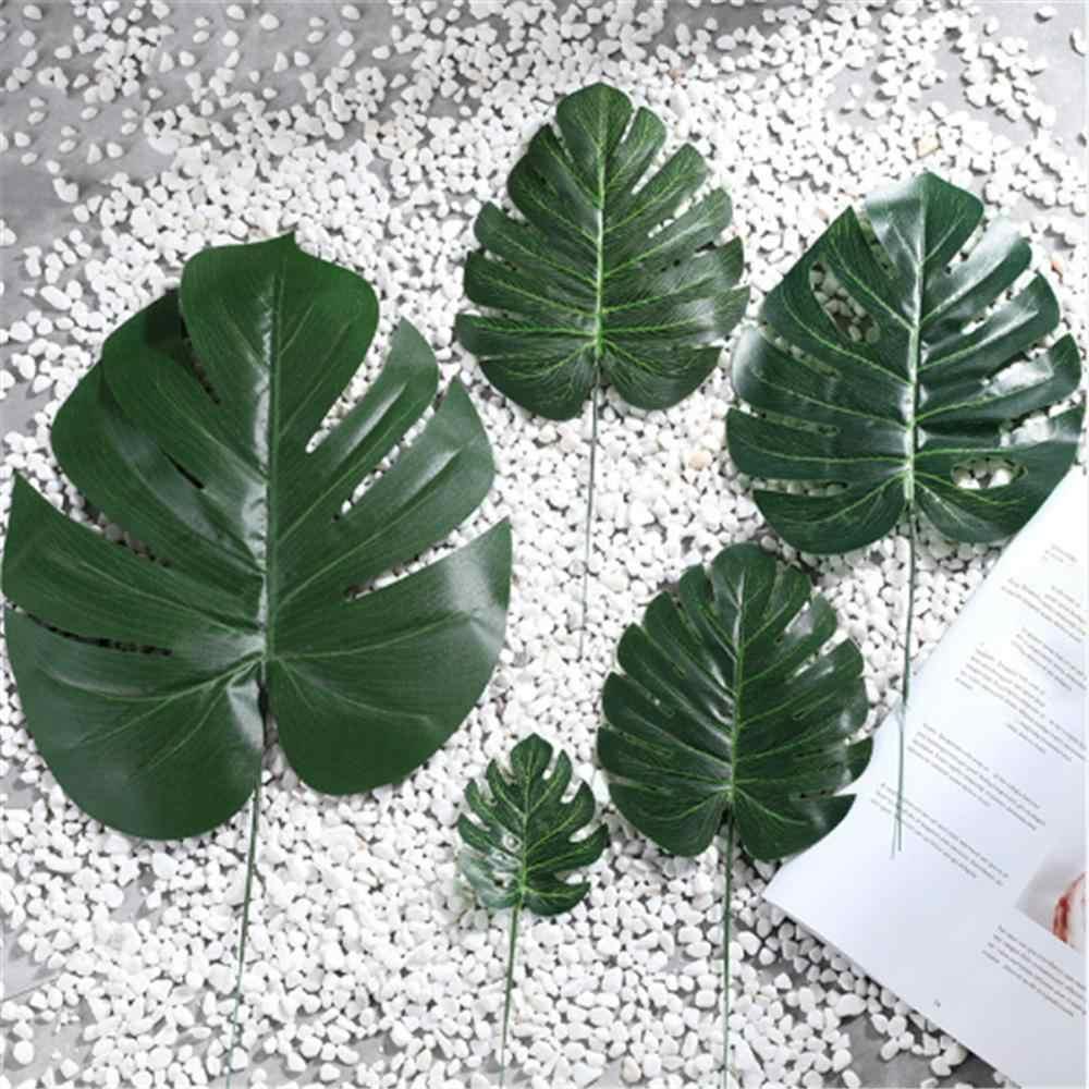 1 pièces artificiel Tropical feuilles de palmier vert Monstera feuilles faux Tropical plante feuilles pour bricolage artisanat fête mariage décor