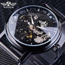 勝者ステンレススチールメッシュバンド透明古典薄型ケース中空スケルトンメンズ男性機械式腕時計トップブランドの高級