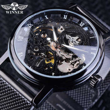 Winner Stainless Steel Mesh Band Transparent Classic Thin Case Hollow Skeleton Mens Male Mechanical Wrist Watch Top Brand Luxury - DISCOUNT ITEM  34 OFF Watches