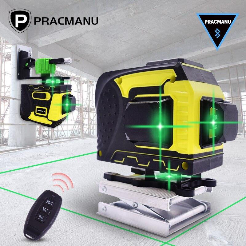 12 linhas 3d laser verde nível auto-nivelamento 360 horizontal & vertical cruz linha poderosa conectividade bluetooth laser de nível