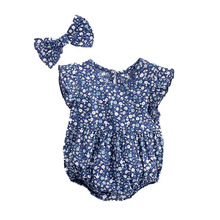 2019 New Dot Baby Romper with Headband Bow Girl Clothes For Infant Body Ruffle Sleeve Onesie Toddler Jumpsuit