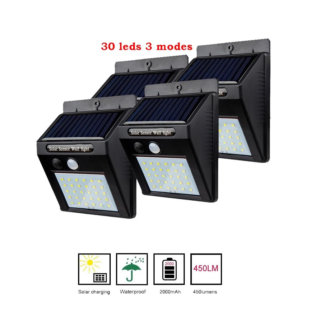 2/4PCS 30 Leds Separable Solar Light PIR Motion Sensor Solaire Lamp Waterproof Outdoor Garden Street Security Lighting 500 LM