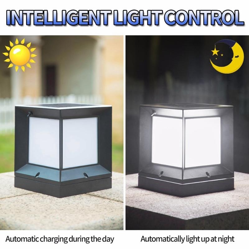 Солнечная колонна лампа литья алюминия беспроводной водонепроницаемый двухцветная СВЕТОДИОДНАЯ колонна головной светильник садовая нару... - 6
