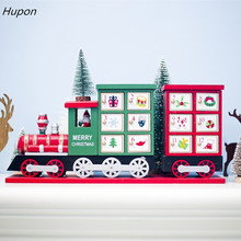 1pc New Christmas Train Painted Wood Decoration for Home with Advent Calendar Storage Box 42*10*19cm Navidad