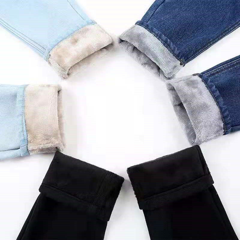 Women Winter Thickening Jeans Fashion Sexy Candy Color Fleece Warm Straight Pants Loose Jean Pants Plus Size Streetpants P9213